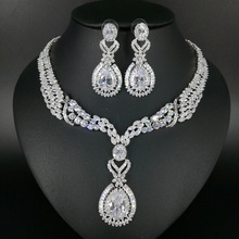 New fashion luxury romantic palace crystal water drop zircon necklace earring set,wedding banquet formal jewelry free shipping