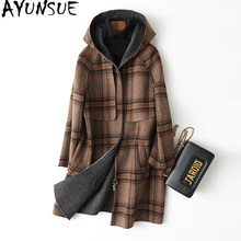AYUNSUE 2018 New Wool Coat Women Double sided 100% Wool Coat Female Winter Jacket Hooded Outerwear manteau femme 37163 WYQ1187(China)