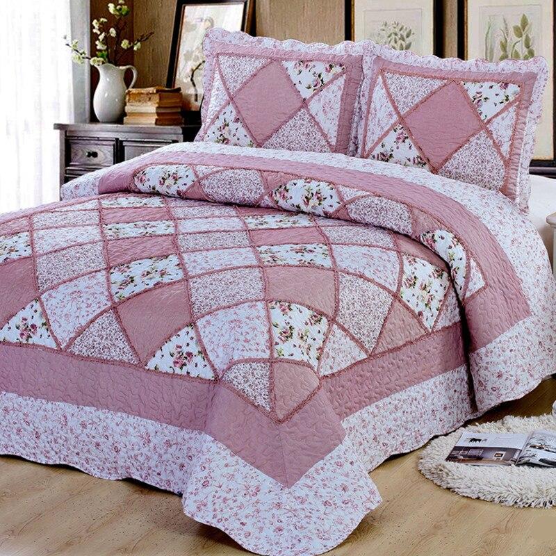 Cómodo alta calidad de cama de algodón cubierta de cama acolchada 220*240 doble jardín cama colcha de impresión