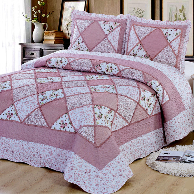 Comfortable high-grade cotton bedding quilted bed cover 220 * 240 double bed garden print bedspread