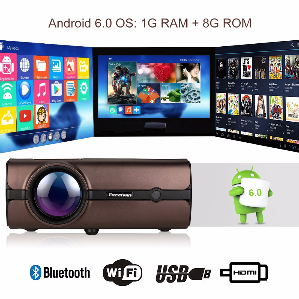 US $115 49 23% OFF|Excelvan BL46 Android 6 0 Bluetooth WIFI 2000Lumen LCD  Projector Home Cinema 1080P LED TV Proyector 1G + 8G Multimedia  Projector-in