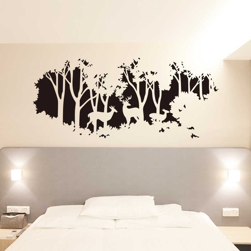 cd35a5e5d2 Large Size World Map Wall Stickers Deer In The Forest Of Trees Wall Sticker  For Living