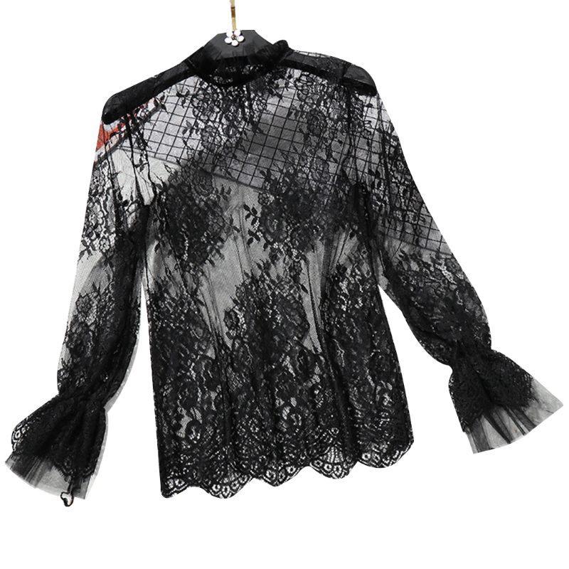 Womens Long Flare Sleeve Sheer Mesh Blouse Hollow Out Embroidered Floral Lace Shirt Swimsuit Cover Up Ruffles Neck Tops