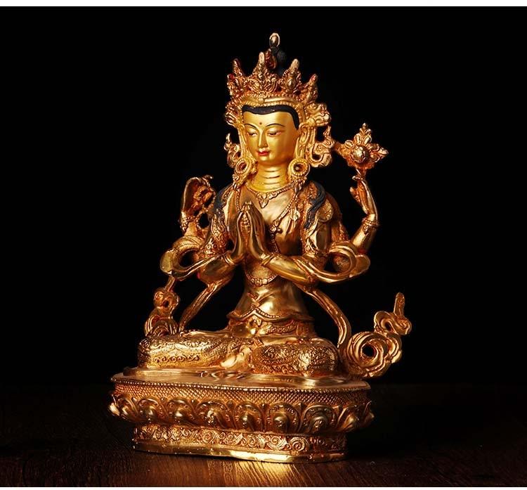 $400--GOOD Buddha # 8 inch -HOME Temple efficacious Protection # Tibetan Buddhism Gilded Shadakshari Avalokitesvara buddha$400--GOOD Buddha # 8 inch -HOME Temple efficacious Protection # Tibetan Buddhism Gilded Shadakshari Avalokitesvara buddha