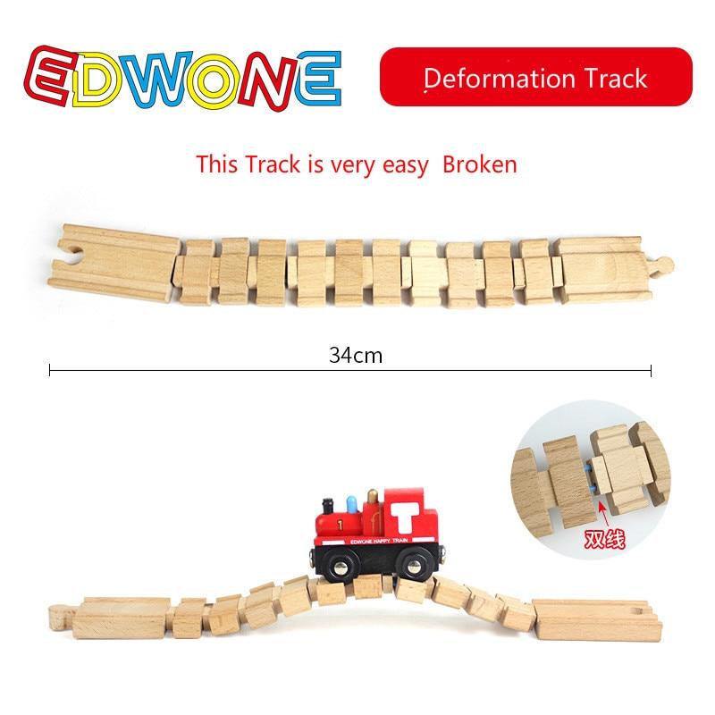 EDWONE Новые все виды деревянных дорожек части бука деревянная железная дорога железнодорожные пути игрушки аксессуары подходят Томас Биро деревянные дорожки - Цвет: Deformation Track