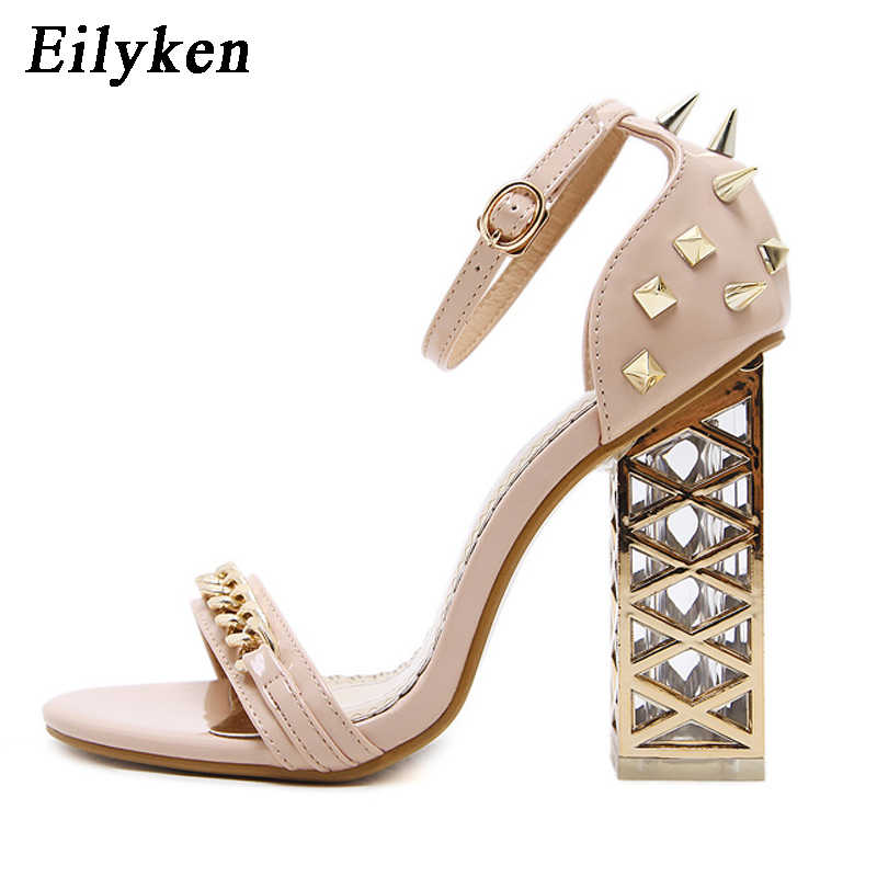 ... Eilyken 2018 New Sexy Rivet Women Sandals Clear Heel Crystal Buckle  Strap Pumps Sandals Summer Rome ... d8851ae693f3