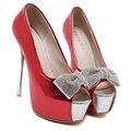 2016 a forma das mulheres Shoes primavera Peep toe Pumps sensuais de Super finas salto alto preto vermelho branco