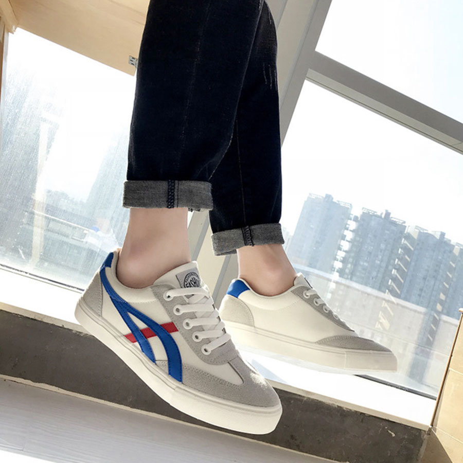 Art Hommes Et Blue Chaussures Sport White Des dérapage Coréenne portant Tendance Nouvelle De Version Printemps Anti Casual Red white Dur Toile Freshing Blanc rBeEWoQdCx