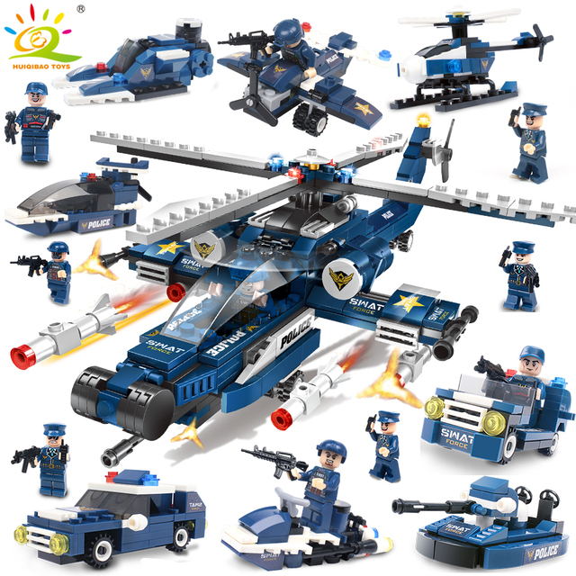 515pcs SWAT Police Helicopter car Building Blocks Compatible legoingly city figures Weapon Bricks Educational Toys for Children