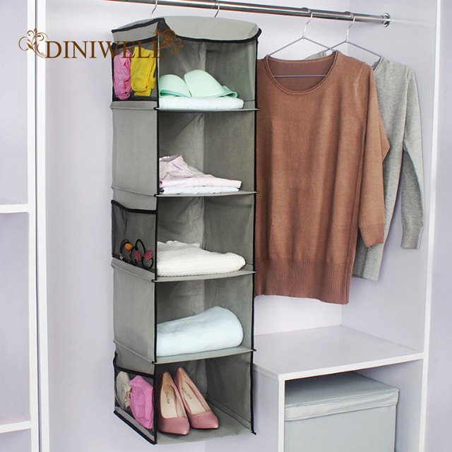 5 Layer Hanging Dustproof Storage Bag Portable Clothes Closet Wardrobe Bedroom Cube Type For Home Organizer