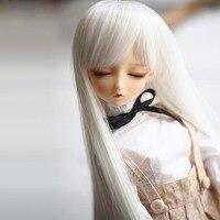 1/3 1/4 1/6 Nuevo Estilo de la Muñeca SD Bjd Peluca Alta Blanco Colores de Moda Rectas BJD Súper Dollfile Pelo Alambre de la temperatura peluca