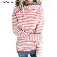 Malianna Autumn Women Fashion Long Sleeve Double Hood Sweatshirt Striped Drawstring Side Zipper Hoodies Outerwear Hoodies