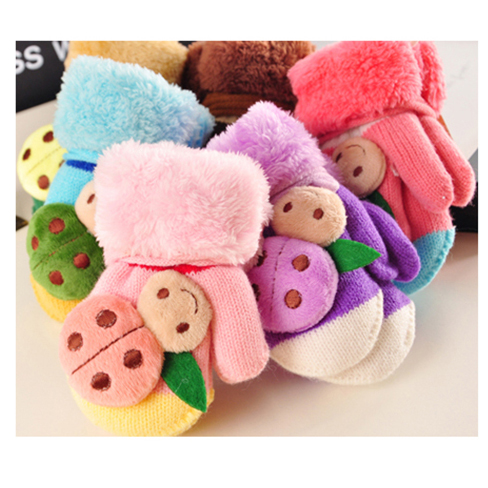 2017 New 0-24 Months Baby boy Baby girl kids Knitted Gloves Winter Children Warm Rope Mittens Cotton Wool  Mittens For Babies cute bear paw plush gloves winter warm thermal children knitted gloves full finger mittens cartoon gloves