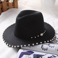 HT1173 2017 New Korea Style Wide Brim Sun Hats High Quality Summer Beach Hats Women Straw Panama Fedora Hats Ladies Sun Bonnie
