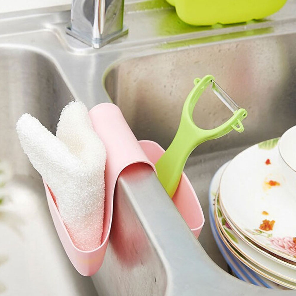 Creative Double Sink Caddy Saddle Style Kitchen Organizer Storage Sponge Holder Rack Tool Kitchen Sink Hanging Drain Basket