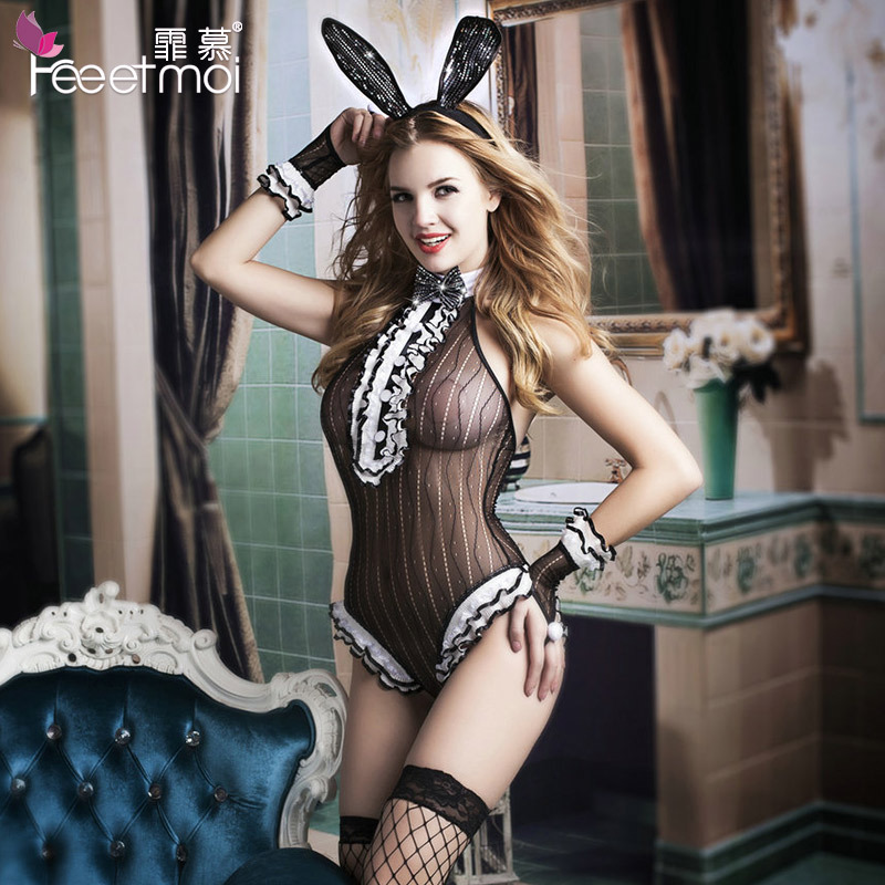 Uniforms Temptation Hot Sexy Erotic Lingerie 2018 New Women Stripe Open Crotch Babydoll Tights Crotchless Exotic app