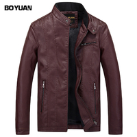 BOYUAN Leather Jacket Leren Jas Heren Chaquetas De Cuero Hombre 2017 Leather Biker Jackets For Men