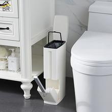 BR 6L узкая пластиковая мусорная корзина, набор с туалетной щеткой, ванная комната, мусорное ведро, мусорные баки, ведро для мусора, мешок для мусора, диспенсер