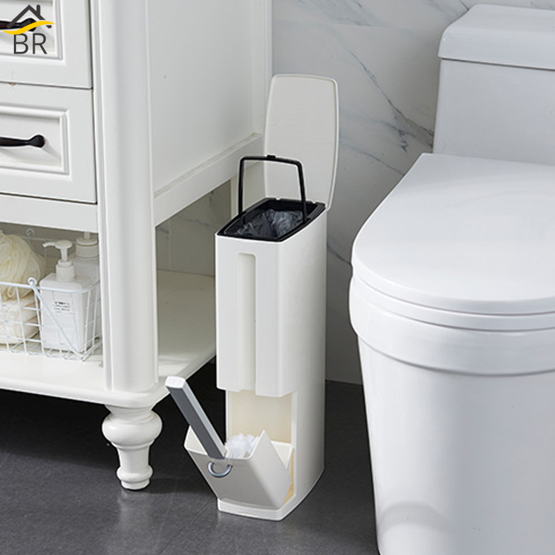 BR 6L Narrow Plastic Trash Can Set with Toilet Brush Bathroom Waste Bin Dustbin Trash Cans
