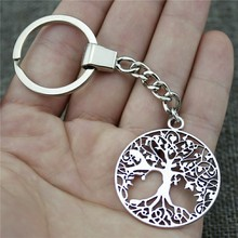 Antique Silver 40x35mm Tree Of Life Keychain New Vintage Handmade Metal Key Ring Party Gift