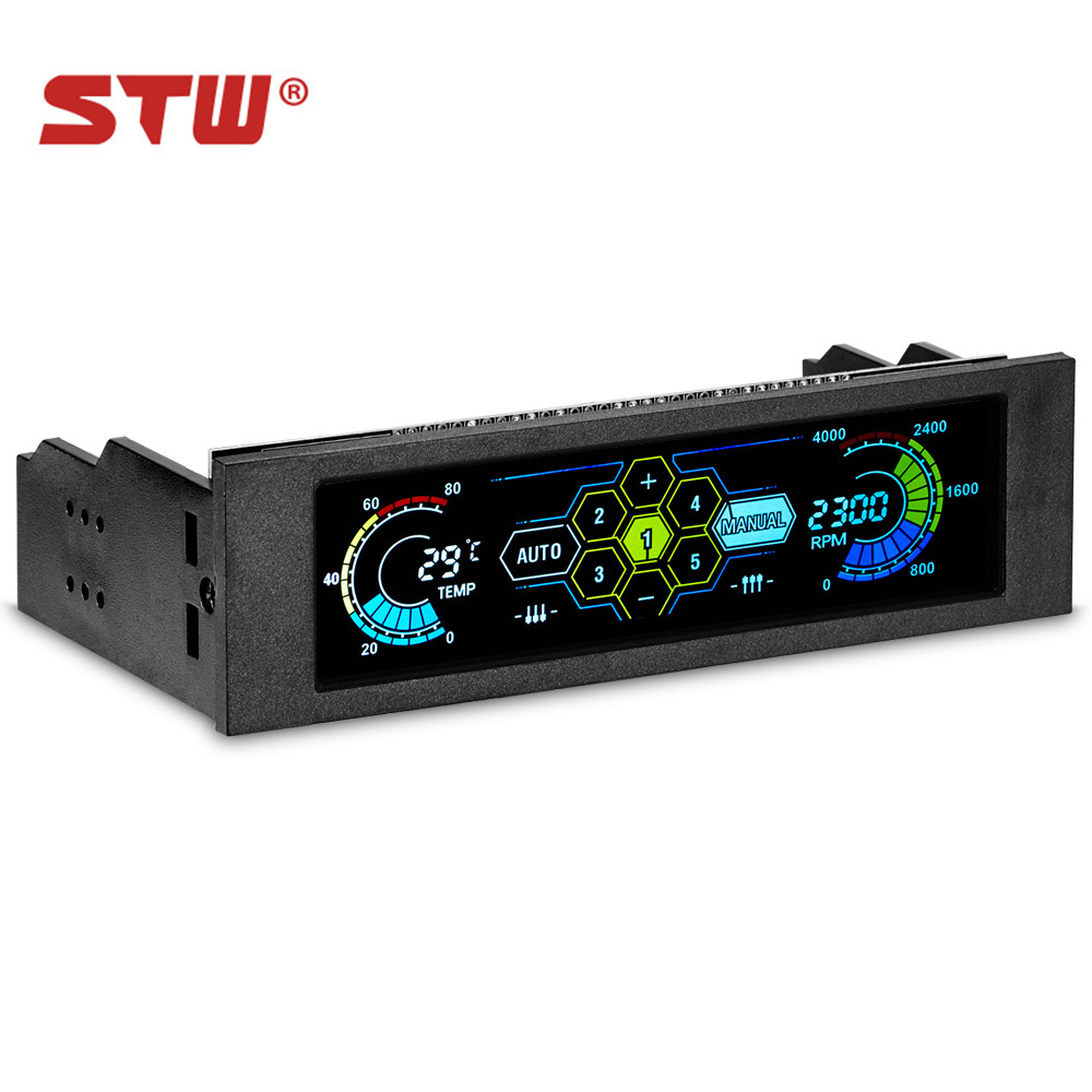 STW 5036 5.25 Drive Bay PC case Fan Computer CPU Cooling LCD Front Panel Temperature Controller Fans Speed Control for Desktop personal computer graphics cards fan cooler replacements fit for pc graphics cards cooling fan 12v 0 1a graphic fan