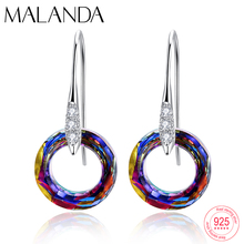 New Fancy Stone Circle Drop Earrings Crystals From Swarovski Dangle Earrings For Women Sterling Silver Bohemian Handmade Jewelry