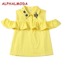 97419d44b ALPHALMODA 2018 Summer Women S Stylish 3D Floral Collars Single Breasted  Fashion Blouses Shirts S XL