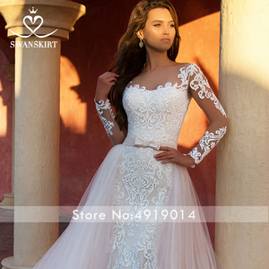 Image 3 - Detachable Train  2 in 1 Wedding Dress 2020 Appliques Long Sleeve Mermaid Bridal Gown Princess Swanskirt  K118 Vestido De Noiva