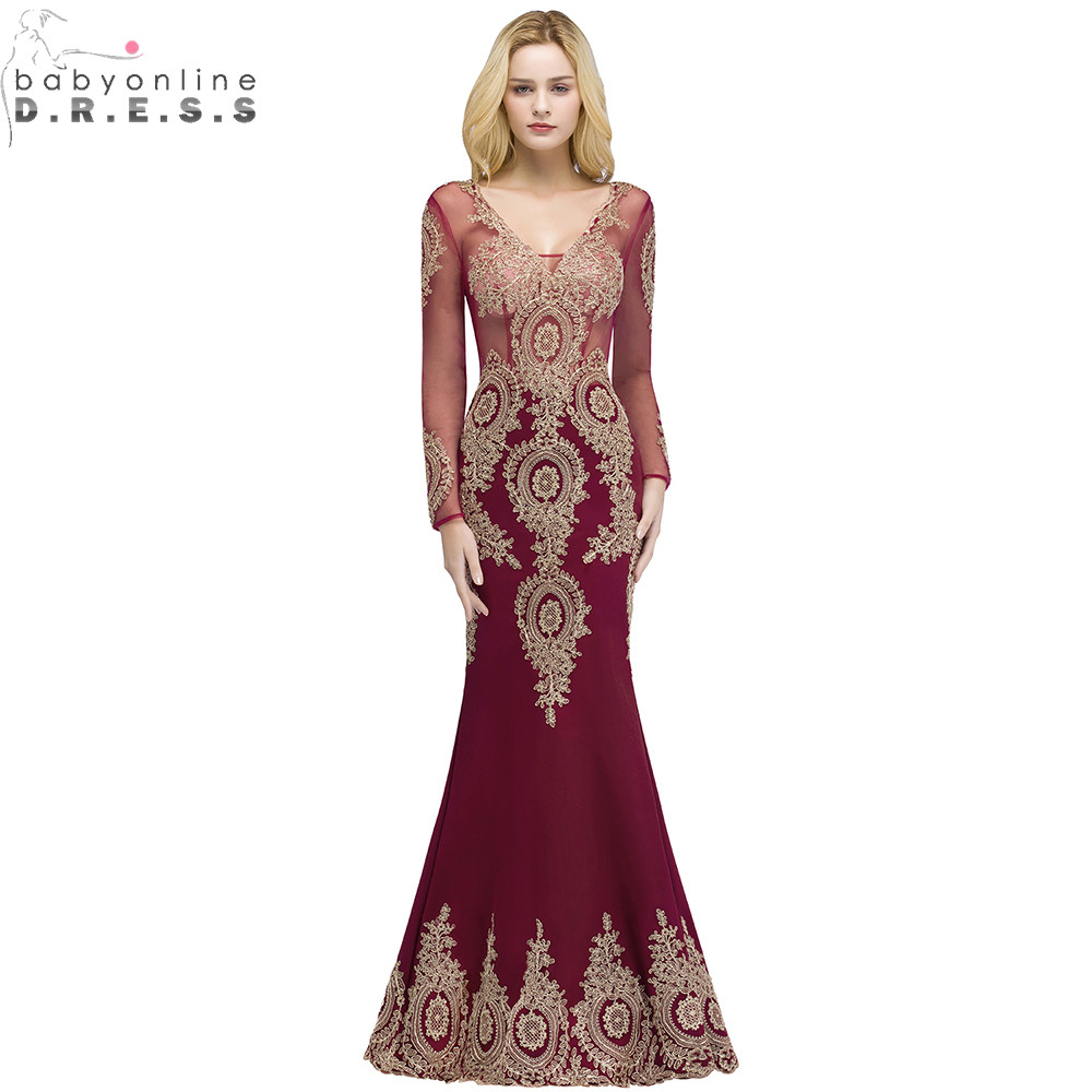 Babyonlinedress Long Sleeve Mermaid Lace Burgundy Evening Dress  Sexy V Back Evening Gowns Robe De Soiree Longue