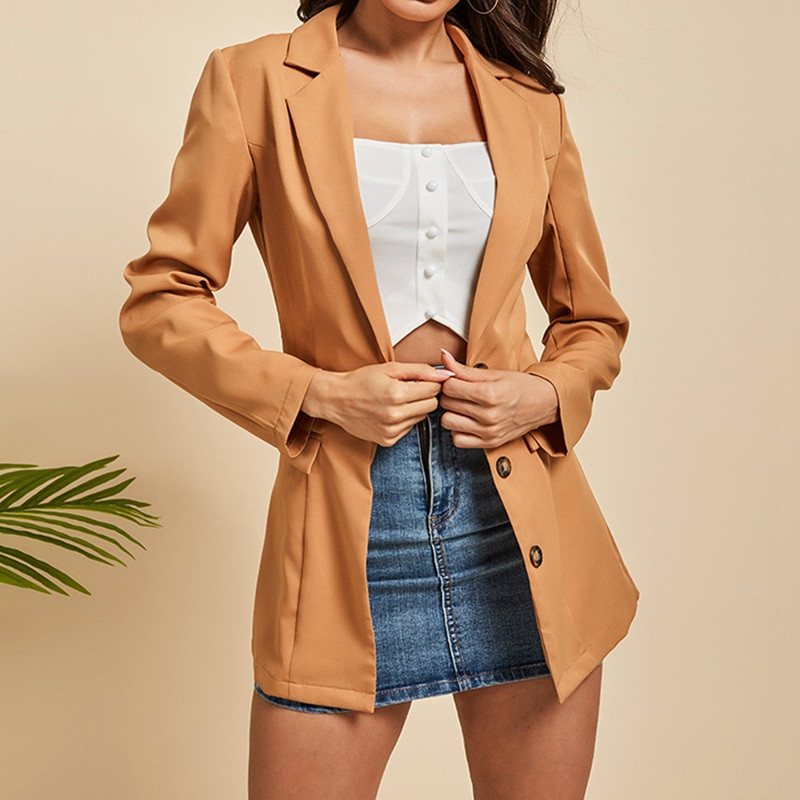 Women Solid Color  Button Cardigan Casual Pocket Suit Coat For Straight Style V Neck Loose Female Offical Suit(China)