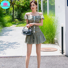 2019 summer new Korean temperament self-cultivation word collar lotus leaf lace small swing dress female