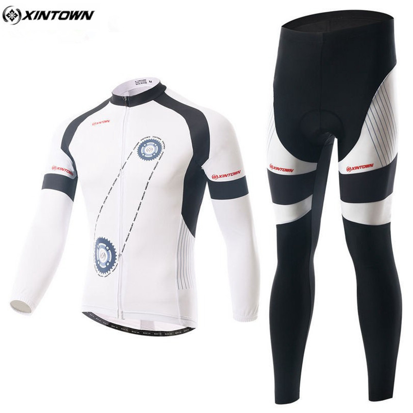 XINTOWN Men Long Cycling Jersey Set Winter Mtb Maillot White Sportswear Quick-dry Riding Cycling Clothing Roupa Ciclismo CC0337