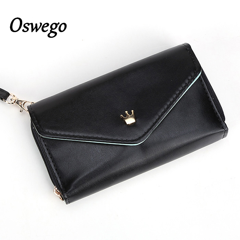 Oswego Female Long Wallets Zipper Crown Logo Coin Purses Lady Candy Color Card Holder Phone Money Purse For Women Clutch Wallet hot sale owl pattern wallet women zipper coin purse long wallets credit card holder money cash bag ladies purses