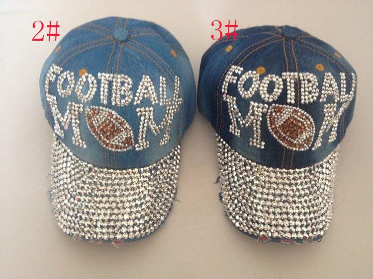 Girl women beautiful crown shaped outdoor casual denim luxury fitted  baseball caps rhinestone snapback hats letter football cap 056f2763872