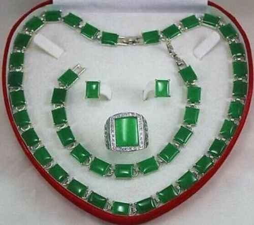 ใหม่สีเขียวหยกสร้อยข้อมือ/ต่างหู/แหวน/สร้อยคอชุดเครื่องประดับ Handcrafted AAA ไม่มีกล่องเครื่องประดับ