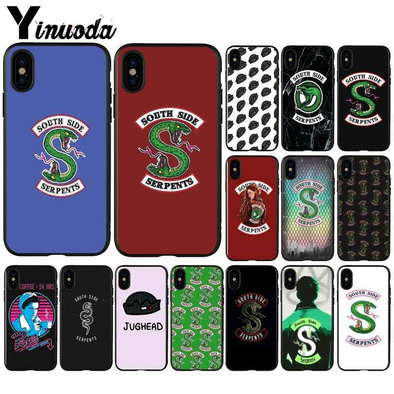 Yinuoda Riverdale South Side Serpents logo pattern Black Phone Cover for iPhone 8 7 6 6S Plus 5 5S SE XR X XS MAX Coque Shell