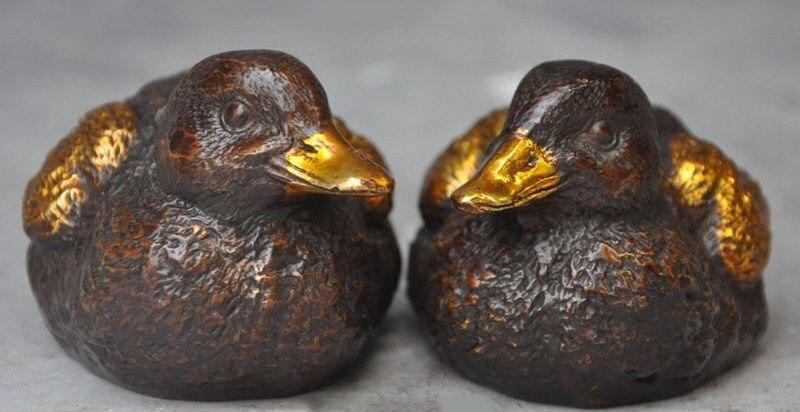 christmas marked chinese bronze gilt lucky animal Mandarin duck Yuanyang bird statue pair halloween