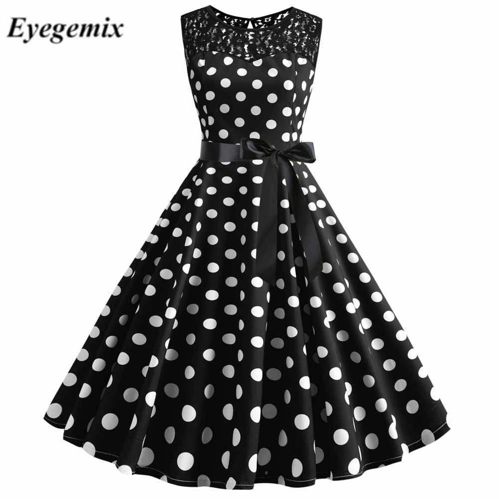 Sexy Sommer Spitze Elegante Party Kleid Frauen Oansatz Schwarz Polka Dot Vintage Kleid Casual Plus Size Schaukel Pin Up Rockabilly vestido