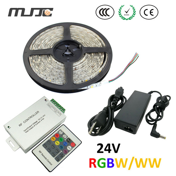 цена на MJJC RGB Led Strip 1pc 60leds/m 5M 12V DC Led Strip 5050 SMD Waterproof +1pc RF RGBW Led Controller+1pc 72w Led Transformer Set