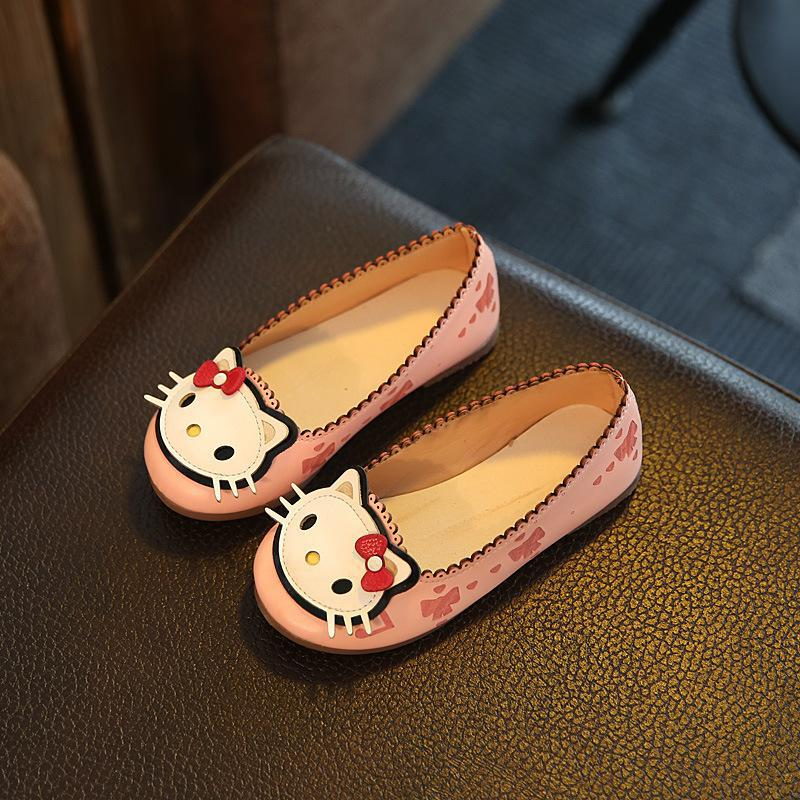 Children's Shoes Girls 2019 Spring And Autumn New Cartoon Hello Kittys Princess Peas Shoes Girls Baby Toddler Shoes Kids Leisure