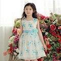 New  girls dress Children's sleeveless flowers  princess dress Big girls round collar butterfly net yarn ball gown kids dresses