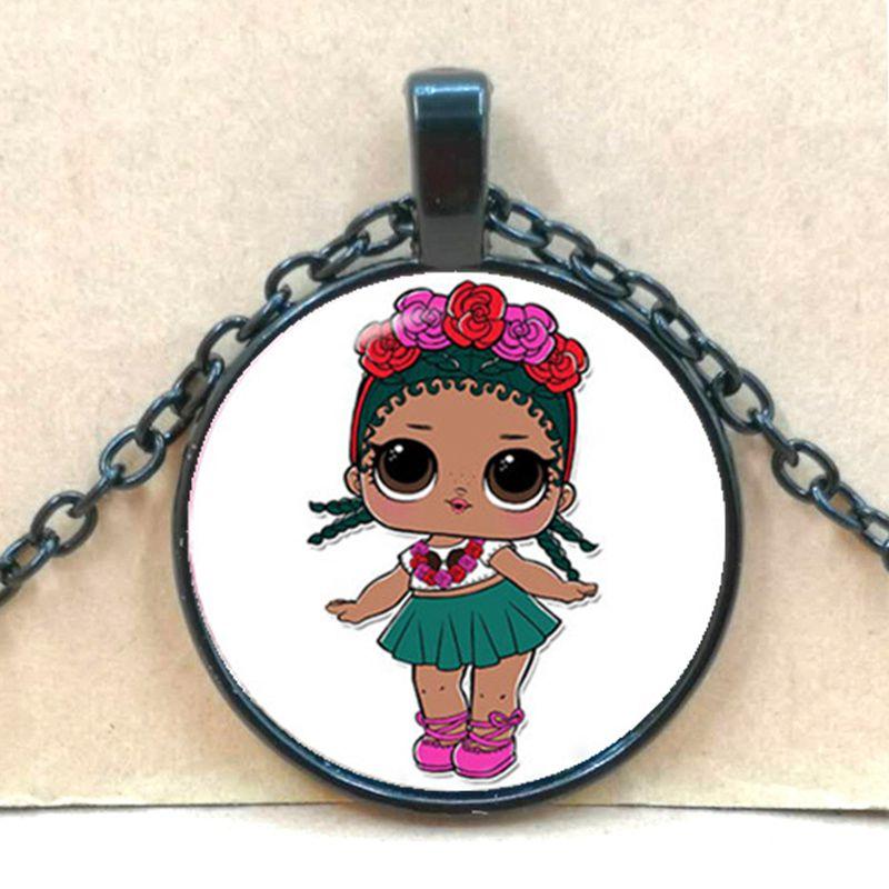 Мультяшное ожерелье с изображением куклы милое детское блестящее платье принцессы куклы стеклянные ожерелья аниме для детей подарок на день рождения - Окраска металла: black 6