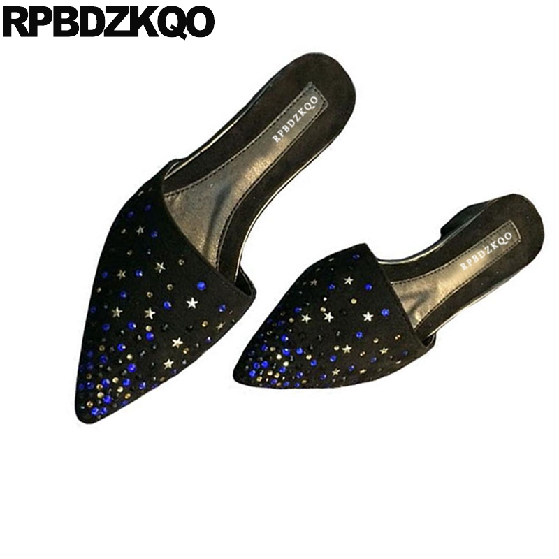 Rhinestone Pink Ladies Beautiful Flats Shoes Large Size Pointed Toe Slippers Black Crystal Stud Mules Suede Metal Sandals Women 2018 large size summer korean slides pearl slippers pointed toe designer women sandals ladies china mules beautiful flats shoes
