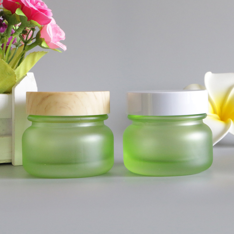 50G Frosted Bamboo Lid Cream Jar Eye Lip Balm Sunscreen Cream Feet Black Mask Travel Refillable