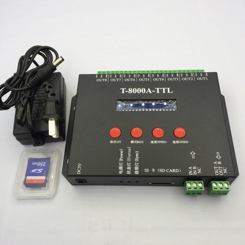 T - 8000A-TTL iridescence controller 8 port iridescence controller Full color controller programmable SD card
