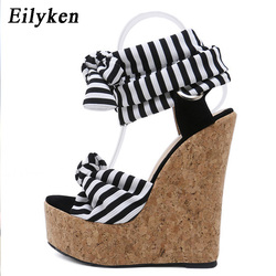 Eilyken 2019 New Designer Cotton Fabric Summer Roman Sandals High Quality Wedges High Heels Sexy Peep-Toe Platform Shoes Woman 9