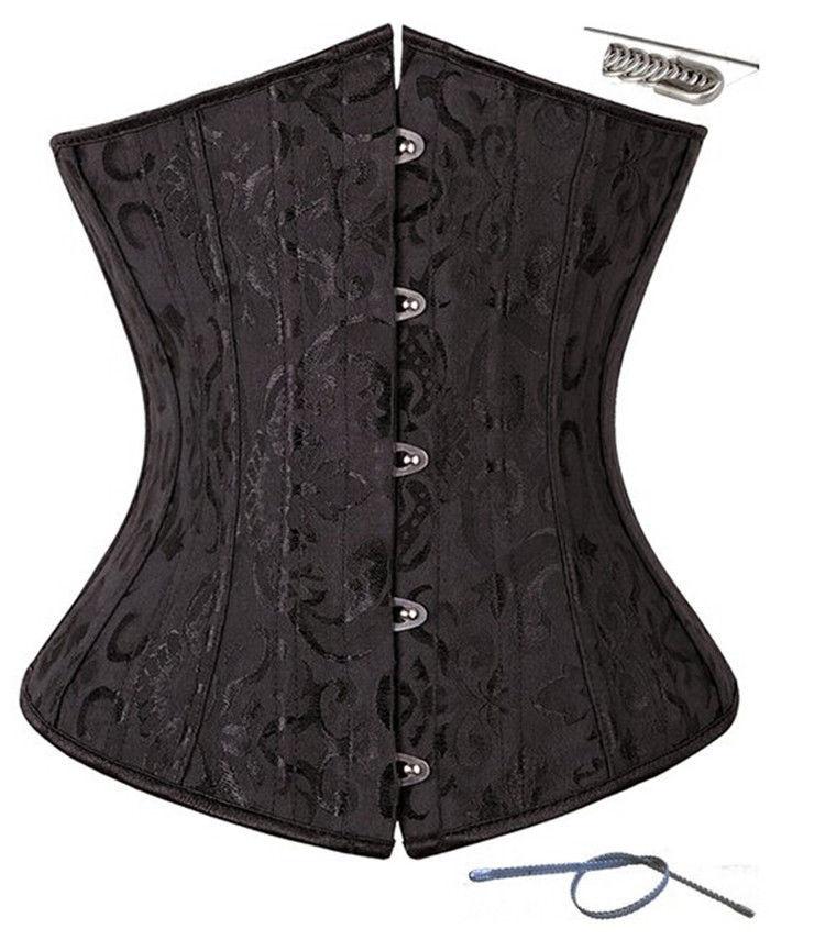 Plus Size S-6XL Gothic Satin Corset Lingerie Waist Trainer Bustiers Top Underwear