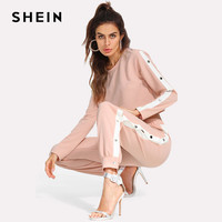 SHEIN Pink Striped Two Piece Set Crop Top With Pants Contrast Tape Split Side Pants Set