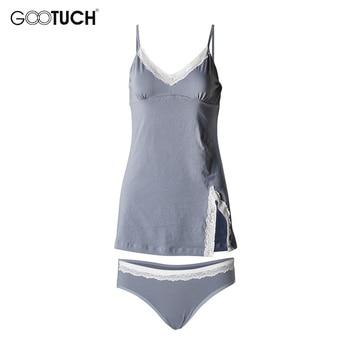 Womens cotton Pajama Sets Sleepwear Lace Trim Camis Top Sexy Lingerie Intimate Ladies Strap Nightwear Plus Size Piyamas 2526 6