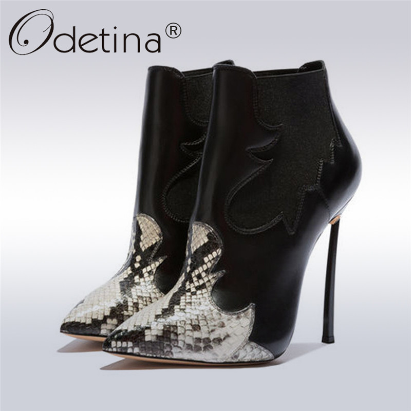 Odetina Autumn Winter Lady Snake Skin Extreme Thin High Heels Women Chelsea Boots Pointed Toe Ankle Boot Dress Shoes Big Size 43Odetina Autumn Winter Lady Snake Skin Extreme Thin High Heels Women Chelsea Boots Pointed Toe Ankle Boot Dress Shoes Big Size 43